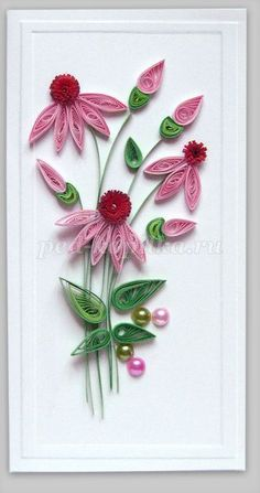 Postcard with Echinacea. Quilling. Master class with step by step photos