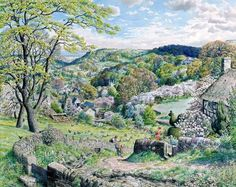 """Stanley Roy Badmin, """"Spring in the West Country"""" Spring Painting, English Artists, Comic Pictures, Country Art, English Countryside, Beautiful Paintings, Landscape Paintings, Landscapes, Travel Posters"""