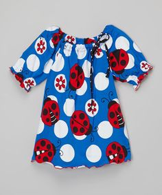 Another great find on #zulily! Blue Ladybug Peasant Tunic - Infant, Toddler & Girls #zulilyfinds