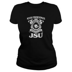 Woman from JSU   never underestimate!    100% Cotton Adult 30/1s Tee Shirt  5.2 oz 100% Ringspun Cotton, Preshrunk Jersey  Tubular  5/8 inch Seamless Rib Knit Collar  Taped neck and shoulders  Double-Needle Sleeve and Bottom Hem  Quarter-turned to eliminate center crease