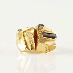 Björn Weckström for Lapponia, 'Tourmaline Bridge' 18k gold ring with a green…