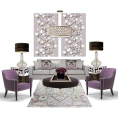 Lilac living room... by gloriettequartet on Polyvore featuring interior, interiors, interior design, home, home decor, interior decorating, Worlds Away, Greggio, Hervé Gambs and Bandhini Homewear Design