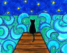 Schwarze Katze Meer Nacht Blau PRINT Shelagh Duffett