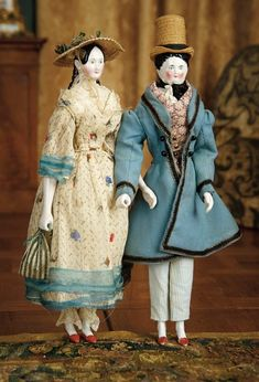 """For the Love of the Ladies"" - October 1-2, 2016 in Phoenix, AZ: 15 Pair of German Porcelain Dolls, Fully-Articulated Wooden Bodies, Original Costumes"