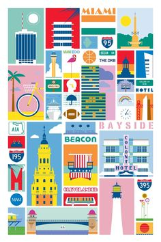 Miami Illustrated by Studioeighty on Etsy Miami Art Deco, Art Deco Posters, Vintage Posters, Art Deco Colors, Miami City, Travel Illustration, Flat Illustration, Art Deco Design, Beach Art