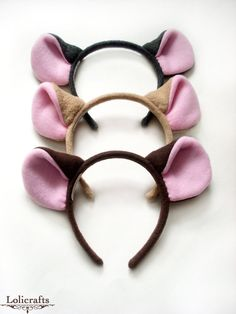 Choose Any Color Mouse or Rat Ears Headband von lolicrafts auf Etsy