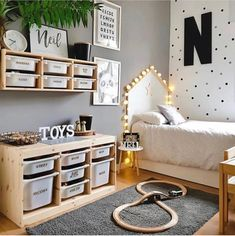 L - kinderzimmer mommo design: 10 IKEA TROFAST HACKS There are some other tricks of the painted furn Ikea Boys Bedroom, Baby Bedroom, Childs Bedroom, Bedroom Furniture, 3 Year Old Boy Bedroom Ideas, Ikea Bedroom Design, Little Boy Bedroom Ideas, Boys Bedroom Storage, Gamer Bedroom