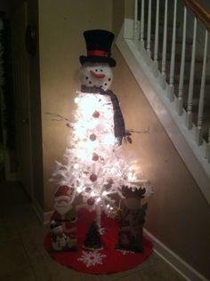 Snowman tree , white tree from dollar store, bought snowman head from Cracker Barrel , my favorite declaration so far. Snowman Tree, Holiday Ideas, Holiday Decor, Dollar Stores, Barrel, Christmas Decorations, Trees, Decorating, Winter