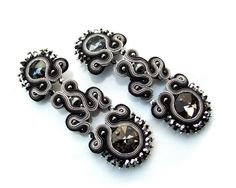 Soutache statement earrings clips  long sparkling by rododendron7, $85.00