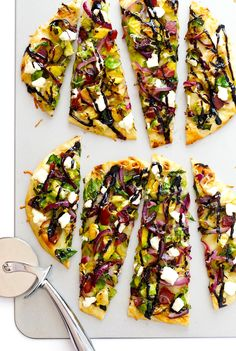 Brussels Sprouts, Bacon and Balsamic Flatbread Pizzas -- ready to go in less than 30 minutes, and so delicious! | gimmesomeoven.com