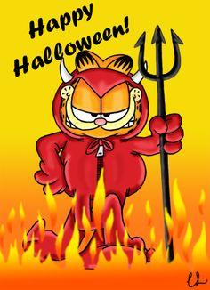 Happy Halloween everyone! As always Garfield © Jim Davis & Paws I give ~Gar. Garfield Cartoon, Garfield And Odie, Garfield Comics, Cartoon Memes, Garfield Quotes, Cartoons, Halloween Rocks, Halloween Cat, Happy Halloween
