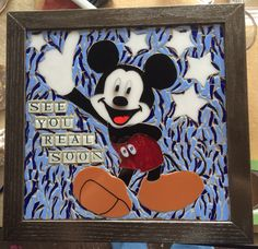 Mickey Mouse Mosaic Chalk Paint Projects, Mosaic Art, Dyi, Stained Glass, Mickey Mouse, Frame, Painting, Ideas, Home Decor