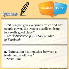 Today's Inspirational Quotes come from Mark Zuckerberg and Steve Jobs. When will employers ever get this?! Be great to your employees, give them a voice, a chance, listen to them!! It makes for an invaluable, loyal, hardworking employee when they know and feel they matter.