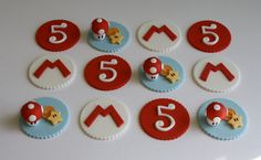 Fondant Super Mario Cupcake Toppers