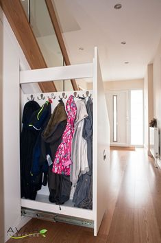 Project: Under Stairs Storage Client: Justin M. Location: London Description: Under stairs storage solution, with three pull out drawers. Closet Under Stairs, Space Under Stairs, Under Stairs Cupboard, Basement Stairs, Hall Closet, Under Staircase Ideas, Entry Closet, Staircase Storage, Hallway Storage