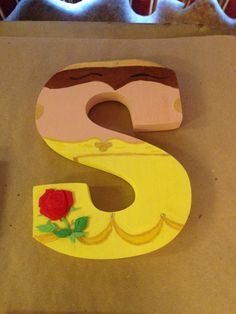 "Princess Belle from Beauty and the Beast ""S"" Disney letter art. Mountable wooden letter. Customize your character and letter when you order on etsy! Shop DisneyByTheLetter!"