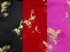 Dragon Phoenix Design Silk Rayon Brocade Fabric