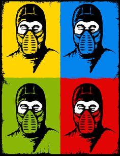 Mortal Kombat Pop Art top left- Scorpion top right- Sub-Zero bottom left- Reptile bottom right- Ermac Arte Kombat Mortal, Kitana Mortal Kombat, Mi Images, Cartoon Network, Mundo Dos Games, Videogames, Mileena, Desenho Tattoo, Nerd Love