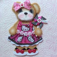 ELITE4U-Laura-HELLO-KITTY-BOUTIQUE-GIRL-Tear-BEAR-Premade-Scrapbook-3paperwishes