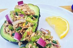Jalapeño Dill Tuna Salad served inside an avocado for an added bonus! #tunasalad https://safecatch.com/tuna-recipes/jalapeno-dill-tuna-salad/