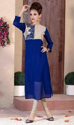 Behold your gracious look wearing this blue and cream color shade georgette tunic. Beautified with lace and resham work. #straightcutkurtis #bluecolortunics #partyweartunictop