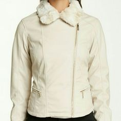 "2 X's HPKensie Faux Leather Jacket Cream Kensie faux leather faux fur moto jacket. So soft and so comfortable. Pictured with and without collar.  -Removable peaked fur collar  -Asymmetrical front zip closure  -2 zip pockets -Approx 22"" length -Shell is 100% polyurethane  -Faux Fur is 70% acrylic & 30% polyester  -Fits true to size Kensie Jackets & Coats"