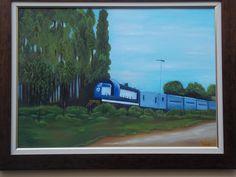 Pintura: Néia Pereira Trem de ferro.De Colina S Paulo para a Capital.