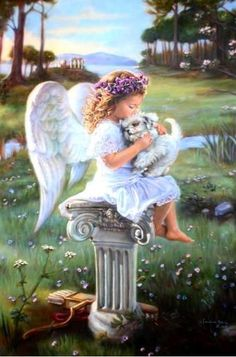 Angel and white puppy Angel Images, Angel Pictures, Angels Among Us, Guardian Angels, Angel Art, Rainbow Bridge, Dachshund, Fantasy Art, Drawings