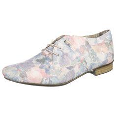 Die femininen rieker Halbschuhe sind aus glattem Kunstleder gearbeitet und zeigen sich in floralem Design. Die Antistress-Decksohle ist weich gepolstert.