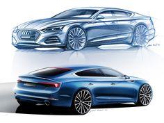 Audi Sportback and Cabriolet: design gallery Car Design Sketch, Car Sketch, Audi A5, Future Concept Cars, Car Body Parts, A5 Cabriolet, A5 Sportback, High Performance Cars, Car Drawings