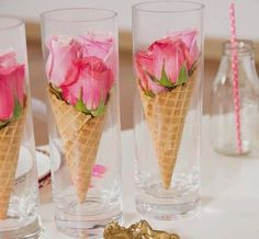 14 Lovely Centerpiece Ideas for Your Reception Table More, this one would be cute for an ice cream social! Summer Table Decorations, Decoration Table, Wedding Decorations, Wedding Centerpieces, Birthday Table Decorations, Marriage Decoration, Homemade Party Decorations, Colorful Centerpieces, Dinner Party Decorations