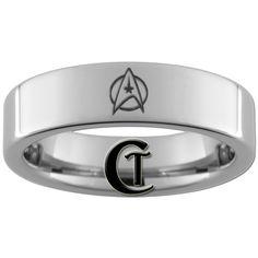6mm Pipe Polished Tungsten Star Trek Designed Ring  $49