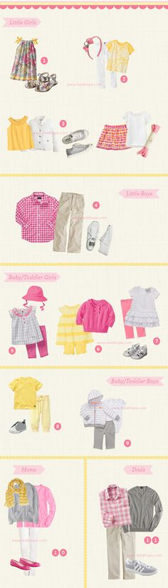 What to wear for a family photo shoot at Spring. Family portrait clothing