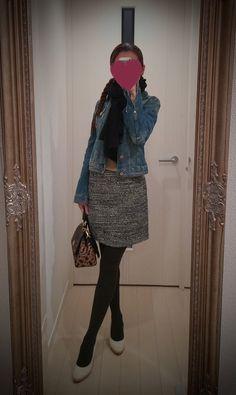 Jeans jacket, gray denim skirt, brown blouse, leopard bag, beige heels - http://ameblo.jp/nyprtkifml
