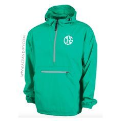Monogrammed Unlined Pullover Rain Jacket - Mint – Ace & Ivy