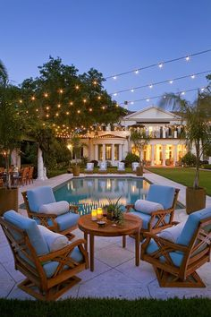 String lights over the pool.