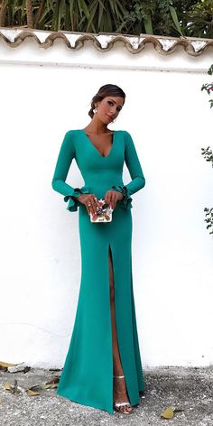 d622fba5f15 18 Gorgeous Fall Wedding Guest Dresses ❤ fall wedding guest dresses long  green with sleeves