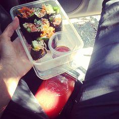 .@Loni McKenzie Jane | Raw veg sushi and watermelon juice. Fuck me so good