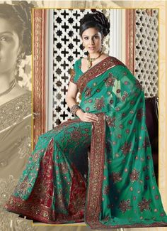 Green Designer Saree With Beautiful Gold Red Embroidery