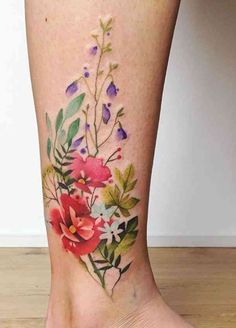 Today's tattoo feature is one of my personal favorite, watercolor tattoos. This time, I would like to focus on the colorful world of flowers, floral Love Tattoos, Beautiful Tattoos, Body Art Tattoos, New Tattoos, Tatoos, Pretty Tattoos For Women, Space Tattoos, Circle Tattoos, Fish Tattoos