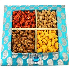 Blue Assorted Kaju Tray - Online Shopping for Diwali Sweet Hampers by Ghasitaram Gifts