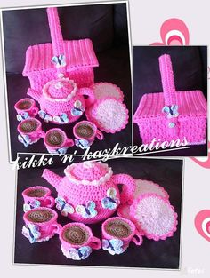 Hey, I found this really awesome Etsy listing at https://www.etsy.com/listing/191470919/crocheted-tea-set-and-picnic-basket