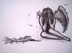 Fallen angel with broken wings Sad Drawings, Drawing Sketches, Pencil Drawings, Tattoo Drawings, Drawing Ideas, Wings Drawing, Angel Drawing, Sad Angel, Sad Art