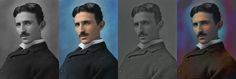 Big fan of Tesla - saw someone else's attempt to color this portrait and figured I could do a better job - first attempt. ( Inspiration - [link] ) Nikola Tesla in colors Nikola Tesla, Tesla Power, Tesla Inventions, Austrian Empire, Feature Film, It Works, Portrait, Music, Bing Images