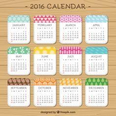 2016 bonito calendário Vetor grátis