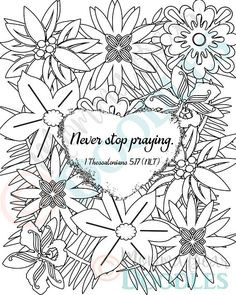items similar to scripture coloring page flower 1 thessalonians 517 printable page pdf download on etsy