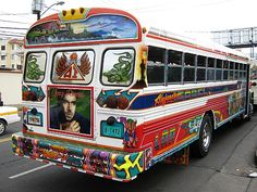 taking the bus to work in Panama