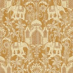 New for 2016 Galerie's gold elephants from the Indo Chic Collection are on-trend creating a warm and stylish Indonesian inspired look - G67360 #galerie #homedecor #gold #wallpaper #wallcovering #interior
