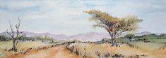 Bushveld Road: Watercolour; 29x10cm. Watercolours, Watercolor Paintings, Wildlife, African, Birds, Water Colors, Bird, Watercolour Paintings, Watercolor Painting