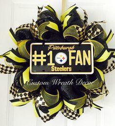 Pittsburgh Steelers Wreath Steelers Wreath by CustomWreathDecor